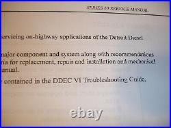 Detroit Diesel Series 60 Engines Factory SERVICE MANUAL Shop Repair Overhaul OEM